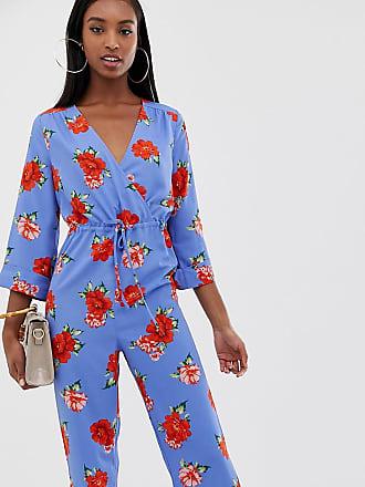 7ae88b5181aa Fashion Union Tall Tuta jumpsuit lunga con fondo ampio a fiori - Blu