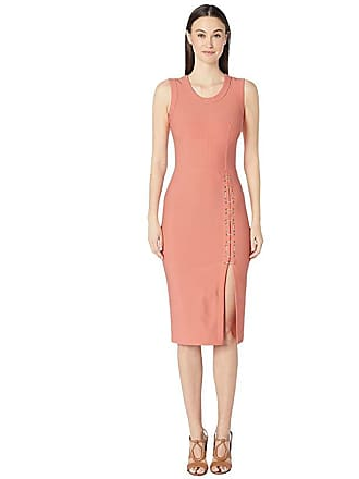 Yigal AzrouËl Sleeveless Mechinical Stretch Dress with Lacing Detail (Coral) Womens Dress