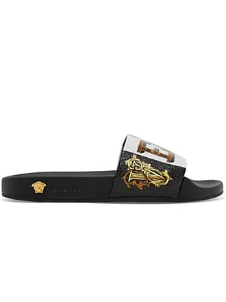 Versace Printed Rubber And Leather Slides - Black