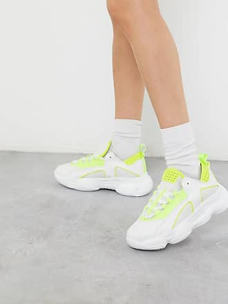 Missguided PU chunky sole trainer in white and lime
