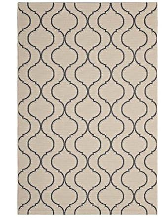 ModWay Modway Linza Wave Abstract Trellis 5x8 Indoor and Outdoor In Beige and Gray