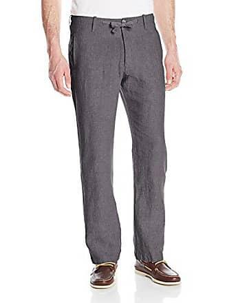 Perry Ellis Mens Drawstring Linen Pant, Slate, 36