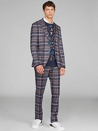 Etro Check Jersey Tailored Trousers, Man, Navy Blue, Size 46