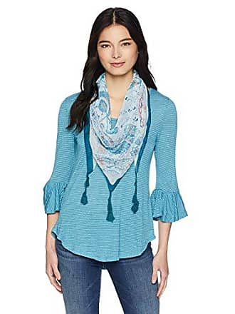 Oneworld Womens Petite Size 3/4 Sleeve Stripe Top with Tassel Scarf, Aquifer PM