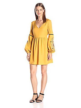 2f937b3ab862d Minkpink Womens Lily of the Valley Embroidered Dress, Ochre, Small