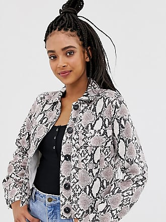 New Look utility shacket in snake print - Black