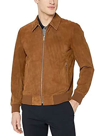 Theory Mens Nolan Radic Full Zip Suede Jacket, Tobacco, L
