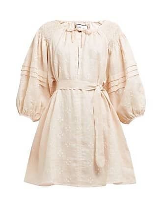 3e3caef043f Innika Choo Dot Embroidered Puff Sleeve Linen Mini Dress - Womens - Light  Pink