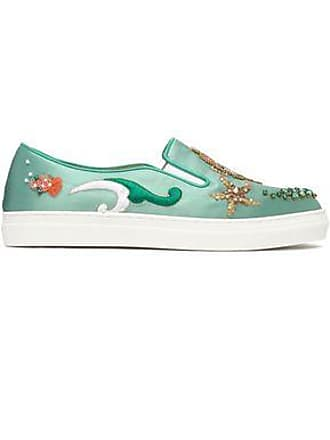c3501037d19b Charlotte Olympia Charlotte Olympia Woman Embellished Satin Slip-on  Sneakers Mint Size 35