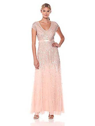 Adrianna Papell Womens Long Beaded V-Neck Dress with Cap Sleeves and Waistband, Blush, 0