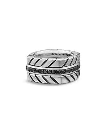 24a4308262ab1d David Yurman Mens 12.8mm Sterling Silver Chevron Stack Ring with Black  Diamonds