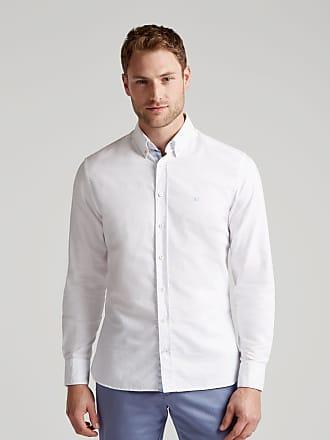 Hackett Mens Embroidered Slim Fit Cotton Shirt   Medium   White