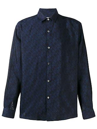 Paura Camisa com estampa e botões - Azul