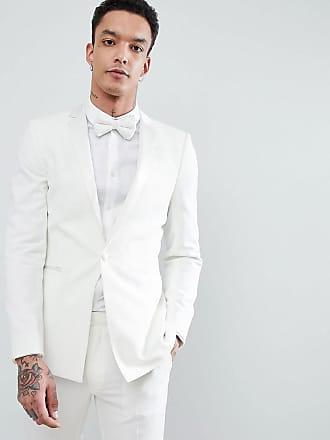 Asos Chaqueta de esmoquin muy ajustada en crema con solapa a tono de ASOS  DESIGN Wedding 350e9e12d35