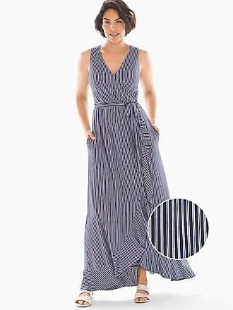 Soma Soft Jersey Ruffle Border Maxi Dress Navy Stripe, Size XXL