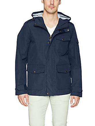 1e47f45c001 Bass GH Mens Arctic Cloth Hooded Waterproof Mid Length Rain Jacket, Navy,  XX-