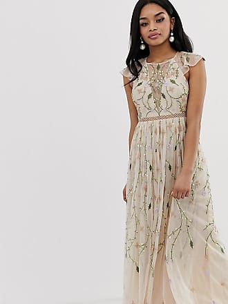 64d6a4e0d42 Asos Petite ASOS DESIGN Petite pretty embroidered floral and sequin mesh maxi  dress