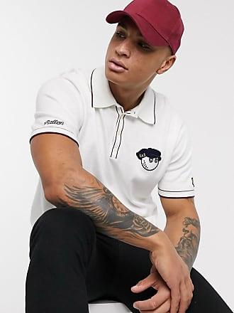 Lyle & Scott X Malbon Golf - Polo in maglia bianca con logo-Bianco