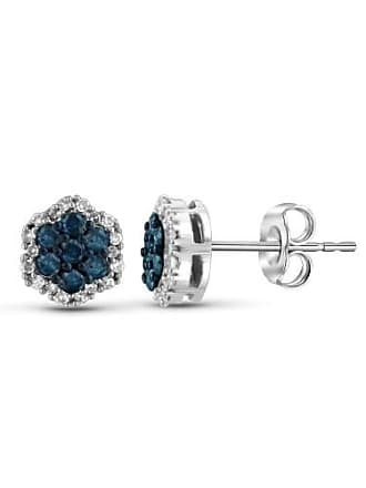 JewelersClub JewelersClub 1/2 Carat T.W. Blue and White Diamond Sterling Silver Stud Earrings