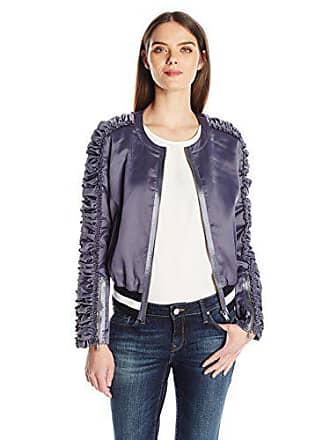 William Rast Womens Naomi Bomber Jacket, Grisaille Blue, M