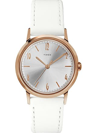 Timex Watch Womens Marlin Hand-Wound 34MM Leather Strap Rose Gold-Tone/white/silver-Tone Item Tw2T18300Zv