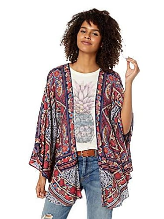 Angie Womens Cold Shoulder Kimono, Navy, Large