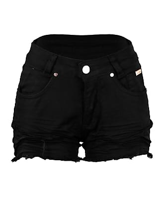 Outlet Dri Shorts Jeans Colorido Destroyed Cintura Alta Botão Preto