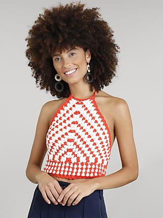 Dress To Top Cropped Halter Neck Feminino Dress To em Crochê Laranja