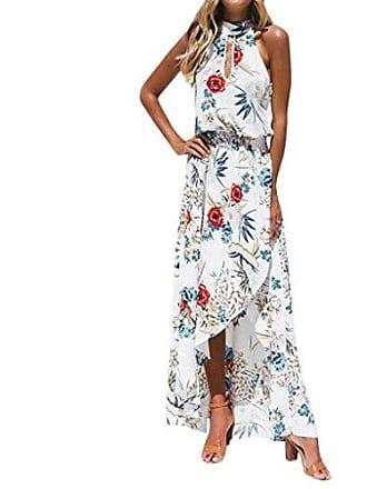 5ecfa6d257d03a MCYs Frauen Boho Floral Lange Maxikleid ärmellose Sommer Strand Sommerkleid  Neckholder Chiffon Blumen Unregelmäßig Split Maxiklied