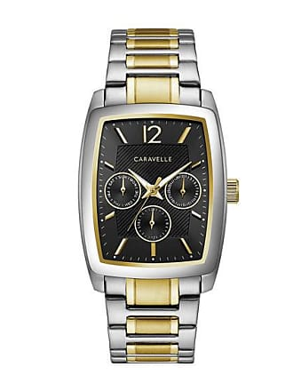 Zales Mens Caravelle by Bulova Two-Tone Watch with Rectangle Black Dial (Model: 45C113)