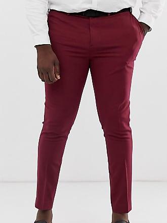 59b1867660c8 Asos Plus super skinny tuxedo suit pants in burgundy - Red