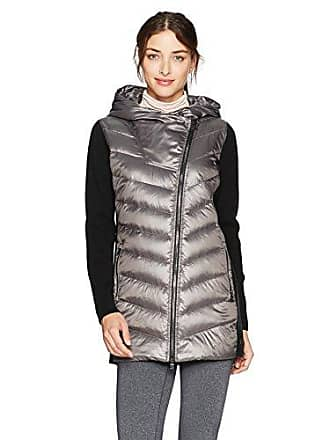 5e218a419742 Calvin Klein Performance Womens Down Filled Big Hood Asymmectric Walker Coat  W/Rib, Metallic