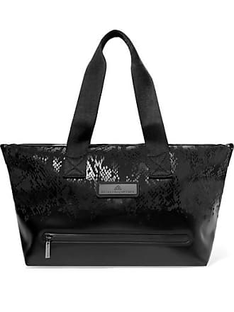 adidas by Stella McCartney Studio Snake-effect Faux Leather And Shell Tote - Black