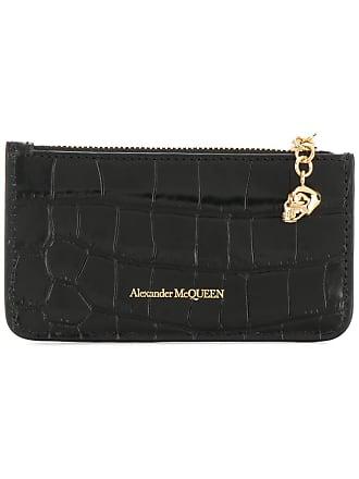 Alexander McQueen snakeskin-effect logo wallet - Black