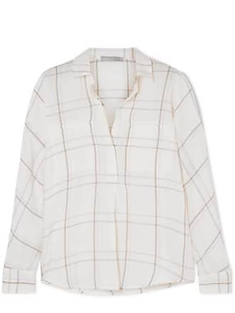 Vince Bar Plaid Checked Brushed Cotton-blend Shirt - Off-white