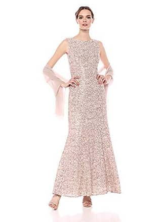 Alex Evenings Womens Long Sleeveless Dress with Beaded Detail Faux Belt and Shawl, Champagne/Ivory, 6