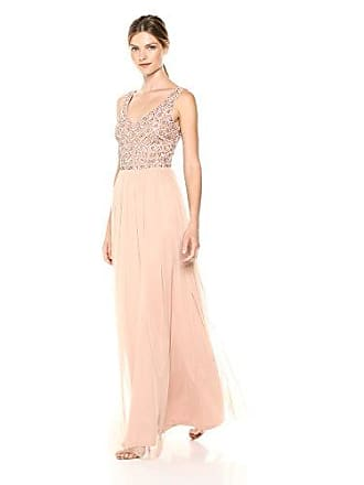 e03a58d6bd Adrianna Papell Womens Sleeveless Beaded Bodice Long Tulle Dress, Blush, 8