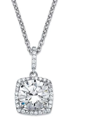 PalmBeach Jewelry 4.30 TCW Round Cubic Zirconia Halo Pendant Necklace in Platinum over Sterling Silver 18-20