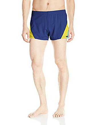 64ea49d308de4 Delivery: free. Sauvage Mens European Nylon Lycra 80s Color Block Swim Trunk,  Navy Yellow Turquoise, Small