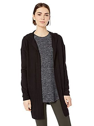 Daily Ritual Womens Cozy Knit Hooded Open Cardigan, Black,Large