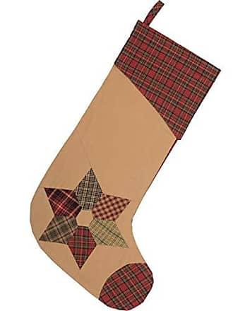 VHC Brands Traditional Christmas Decor Kilton Fabric Loop Cotton Patchwork Star 20x11 Stocking, 20 x 11, Tea