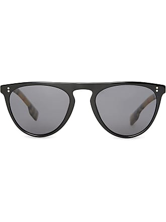 2ff6bbb5850 Burberry Vintage Check Detail Keyhole D-shaped Sunglasses - Black