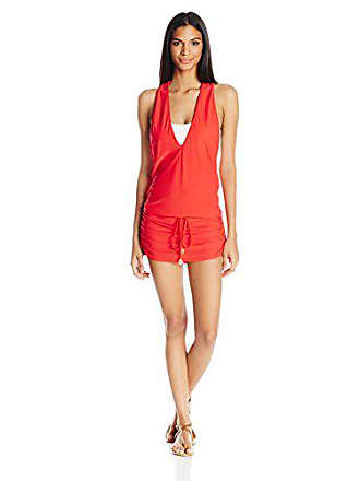 Luli Fama Womens Cosita Buena T-Back Mini Dress Cover Up, Girl On Fire, M