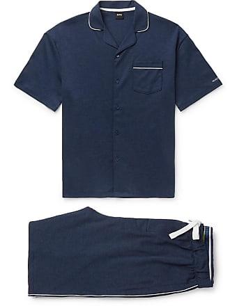 HUGO BOSS Piped Cotton-jersey Pyjama Set - Blue