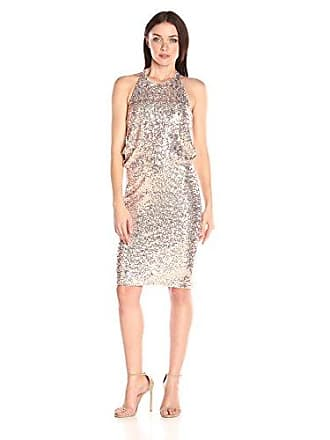 6b472a7838 Badgley Mischka Womens Sequin Drape Back Cocktail Dress, Blush, 4