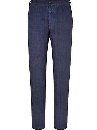 120% CASHMERE Navy Linen Trousers - Blue