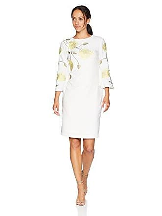 6f896d4a5392d Tahari by ASL Womens Petite Embroidered Crepe Dress, White/Citron/Green, 6P