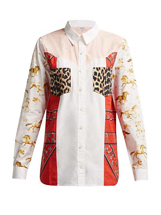 01a17180 Ganni Sweeny Patchwork Cotton Western Shirt - Womens - White Multi