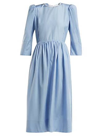 ANNA OCTOBER Tie Back Cut Out Silk Dress - Womens - Light Blue