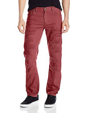 Southpole Mens Twill Pants Long Destructed Ripped and Repaired in Solid Colors, Burgundy, 32x32